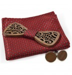 Wooden bow tie with handkerchiefs and cufflinks