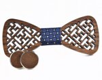 Wooden bow tie with cufflinks