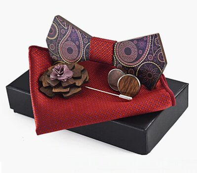 Wooden bow tie with handkerchiefs and cufflinks Gaira 709061