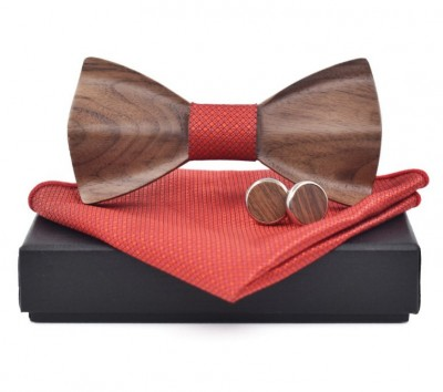 Wooden bow tie with handkerchiefs and cufflinks Gaira 709098