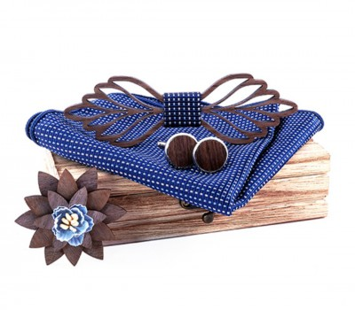 Wooden bow tie with handkerchiefs and cufflinks Gaira 709211