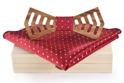 Wooden bow tie with handkerchiefs Gaira 709214